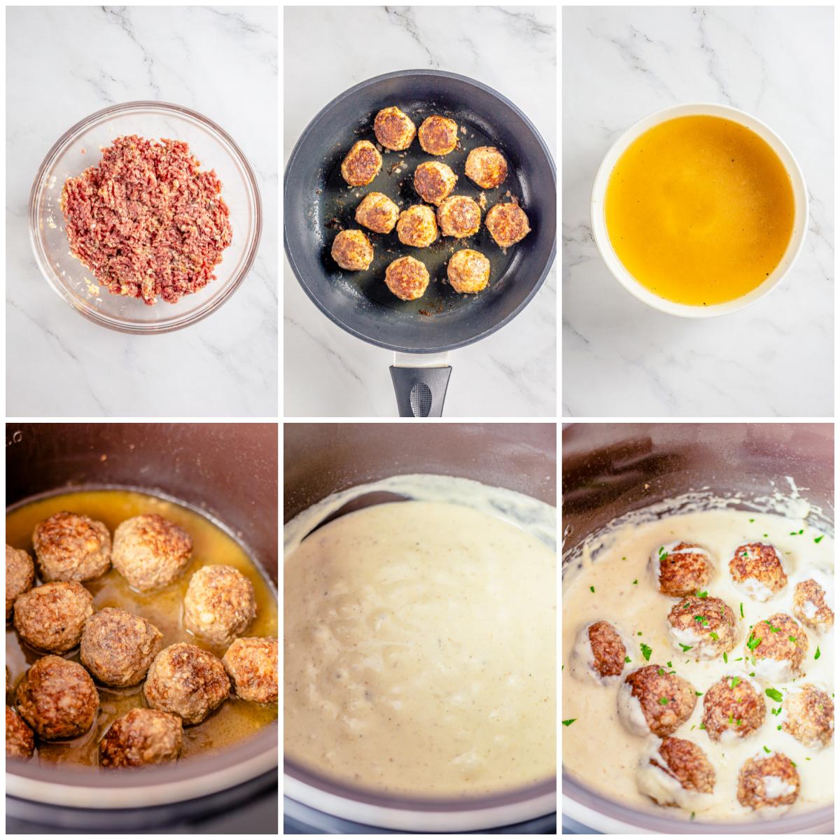 Step by step photos on how to make Crockpot Swedish Meatballs.