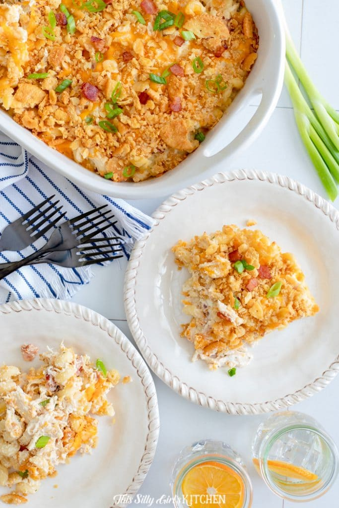 portions of chicken noodle casserole on plates