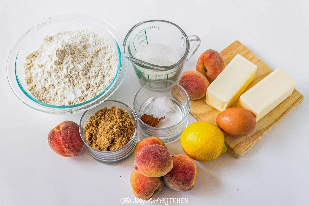 Ingredients needed to make Peach Crumble Bars