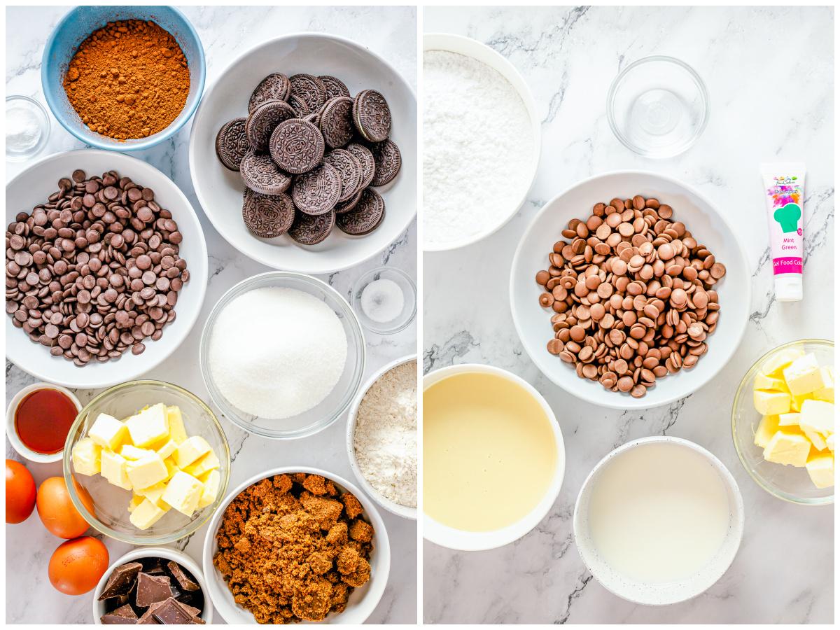 Ingredients needed to make Mint Brownies.