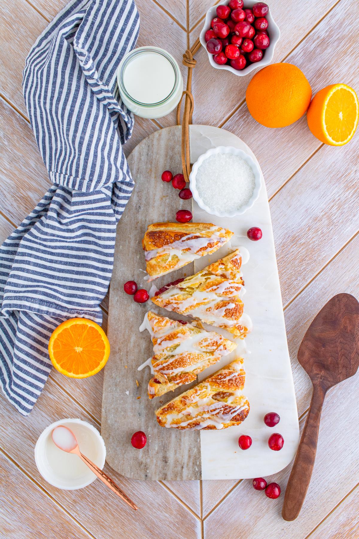 Overhead of Cranberry Orange Braid cut into slices