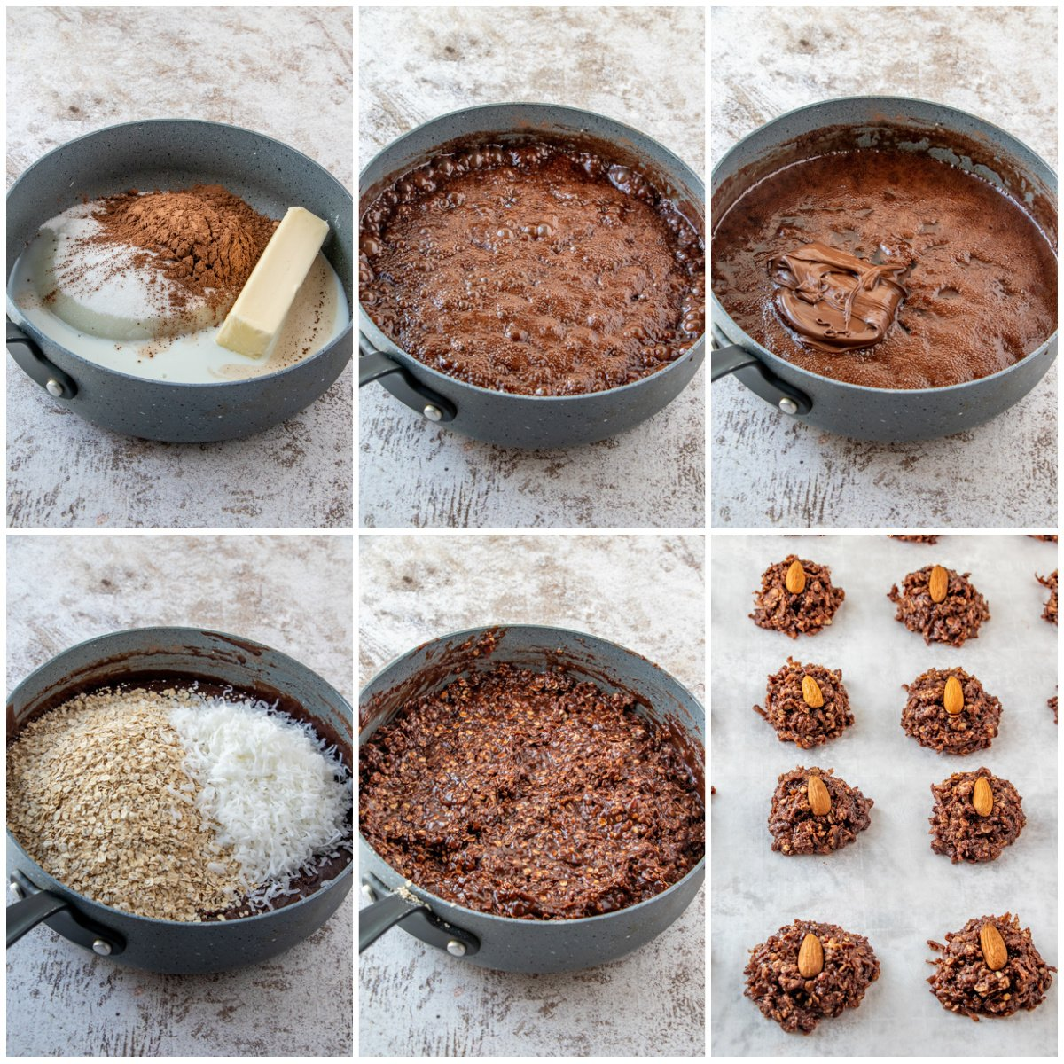 Step by step photos on how to make Almond Joy Cookies