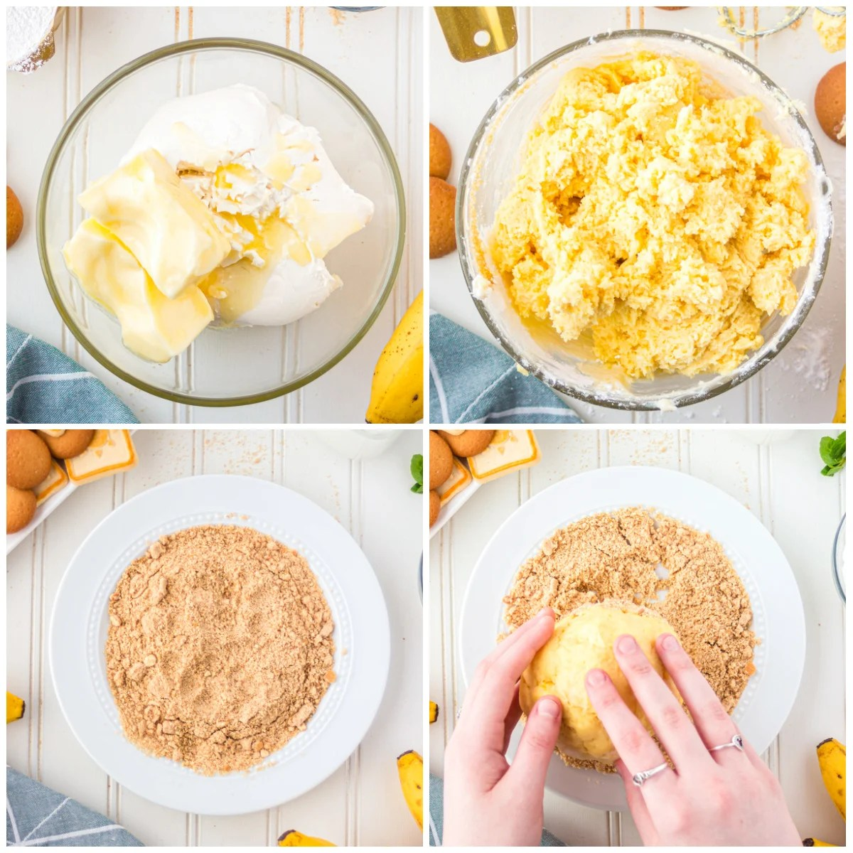 Step by step photos on how to make a Banana Pudding Dessert Cheese Ball Recipe