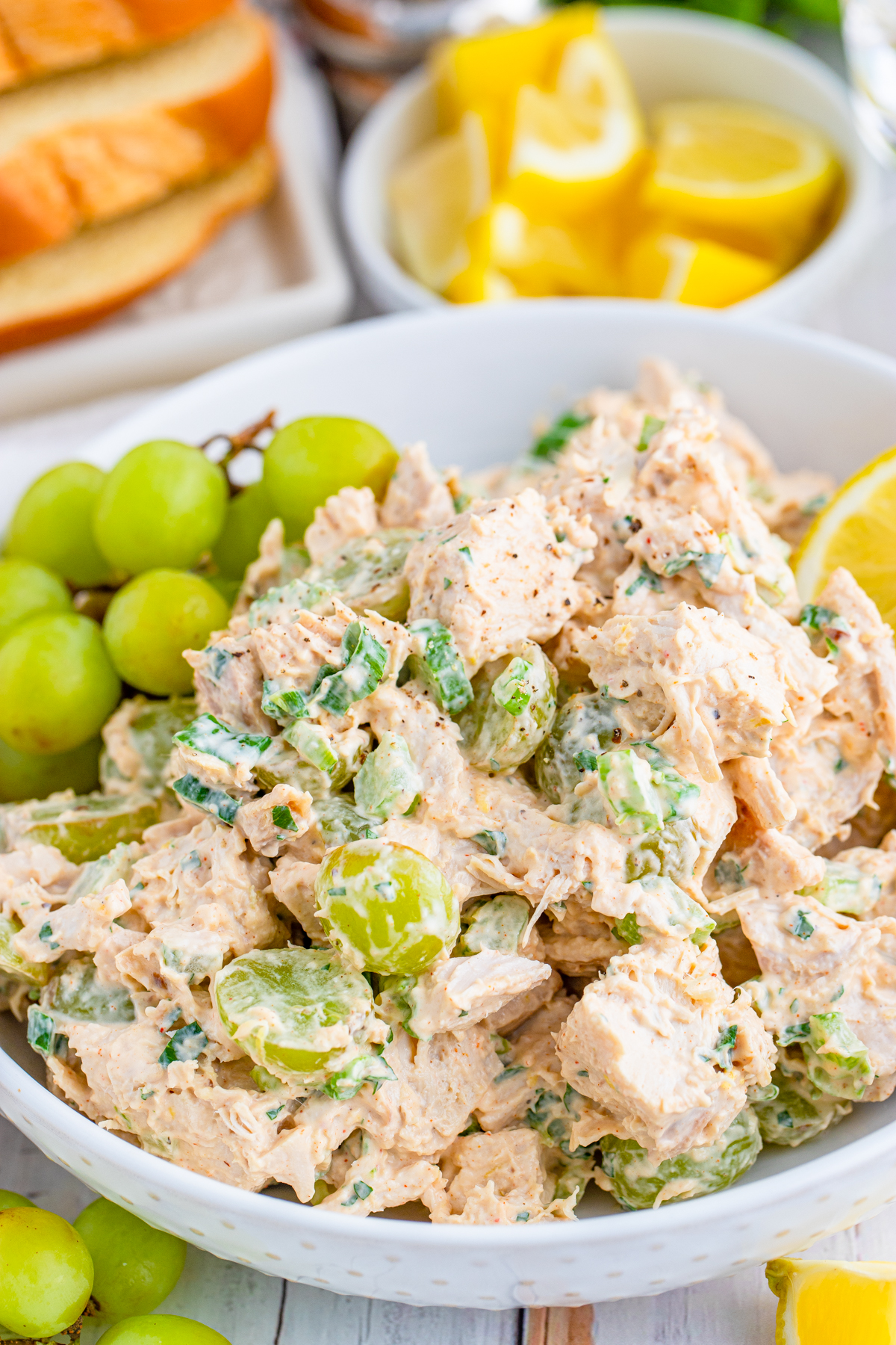 Finished Chicken Salad with Grapes in bowl