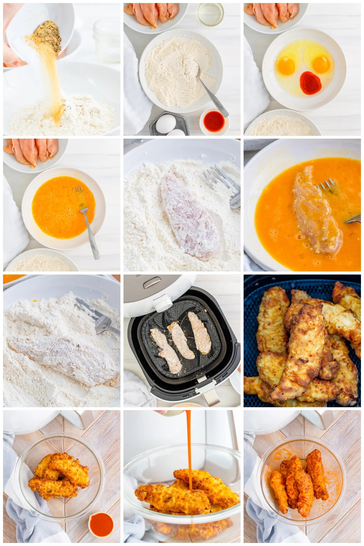Step by step photos on how to make Air Fryer Buffalo Chicken Tenders