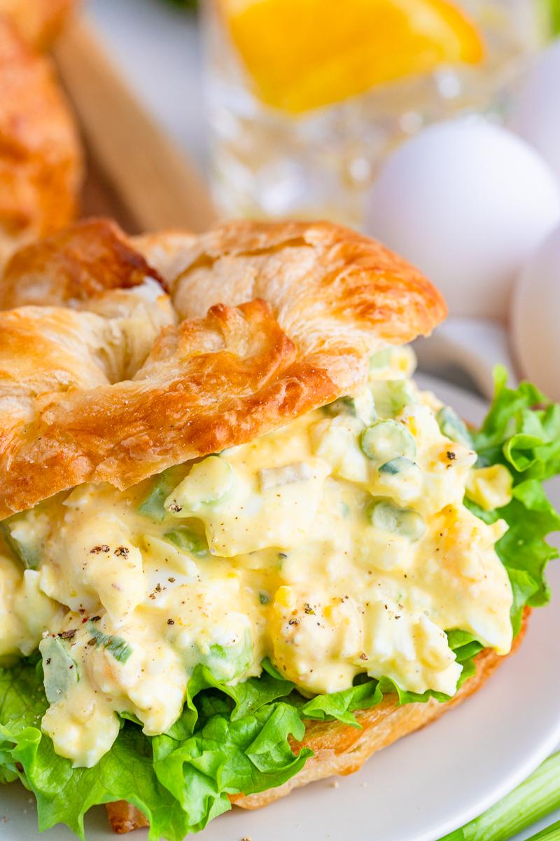 Close up of Egg Salad Sandwich Recipe in bun