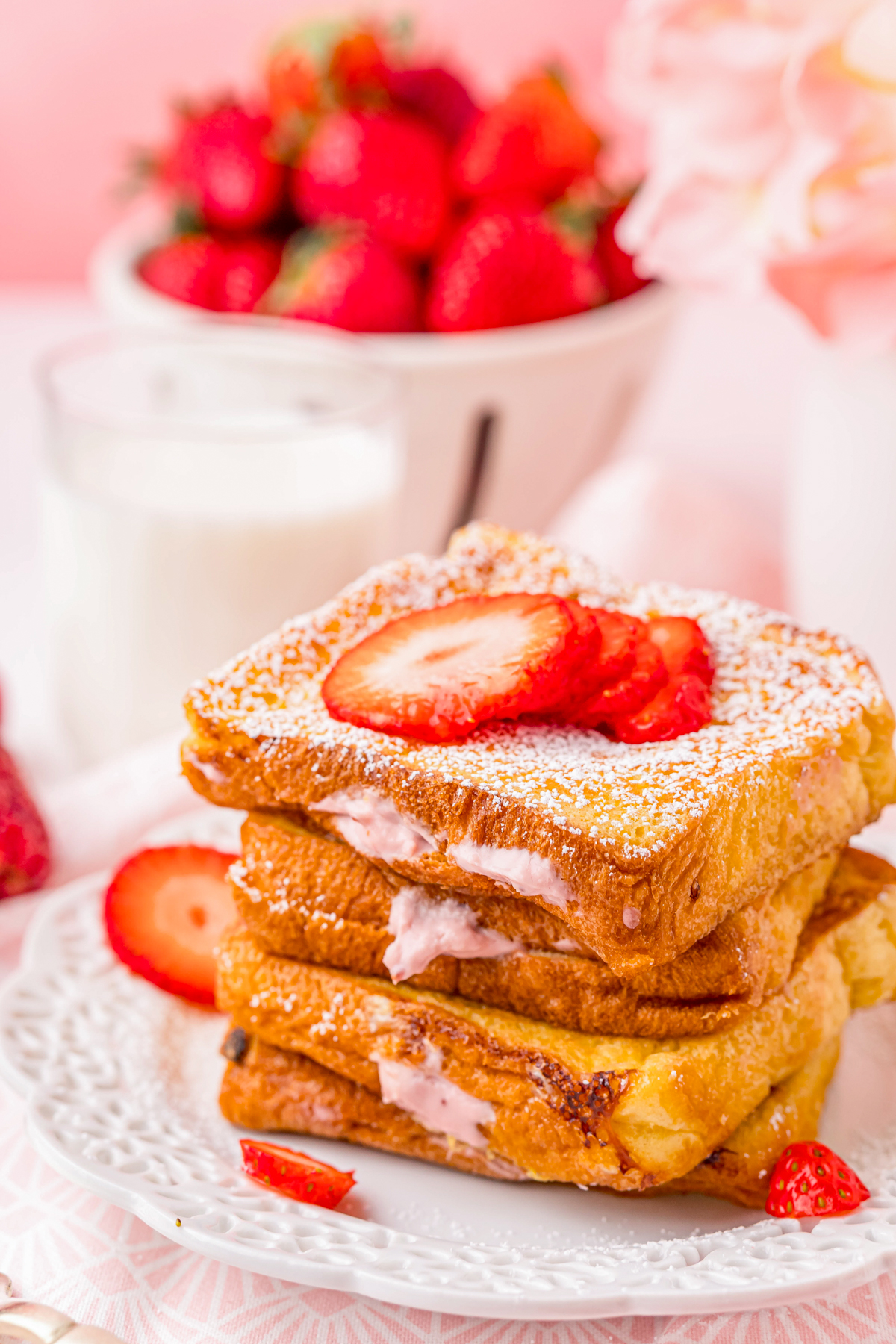 Side view of Stuffed French Toast showing the cheesecake filling