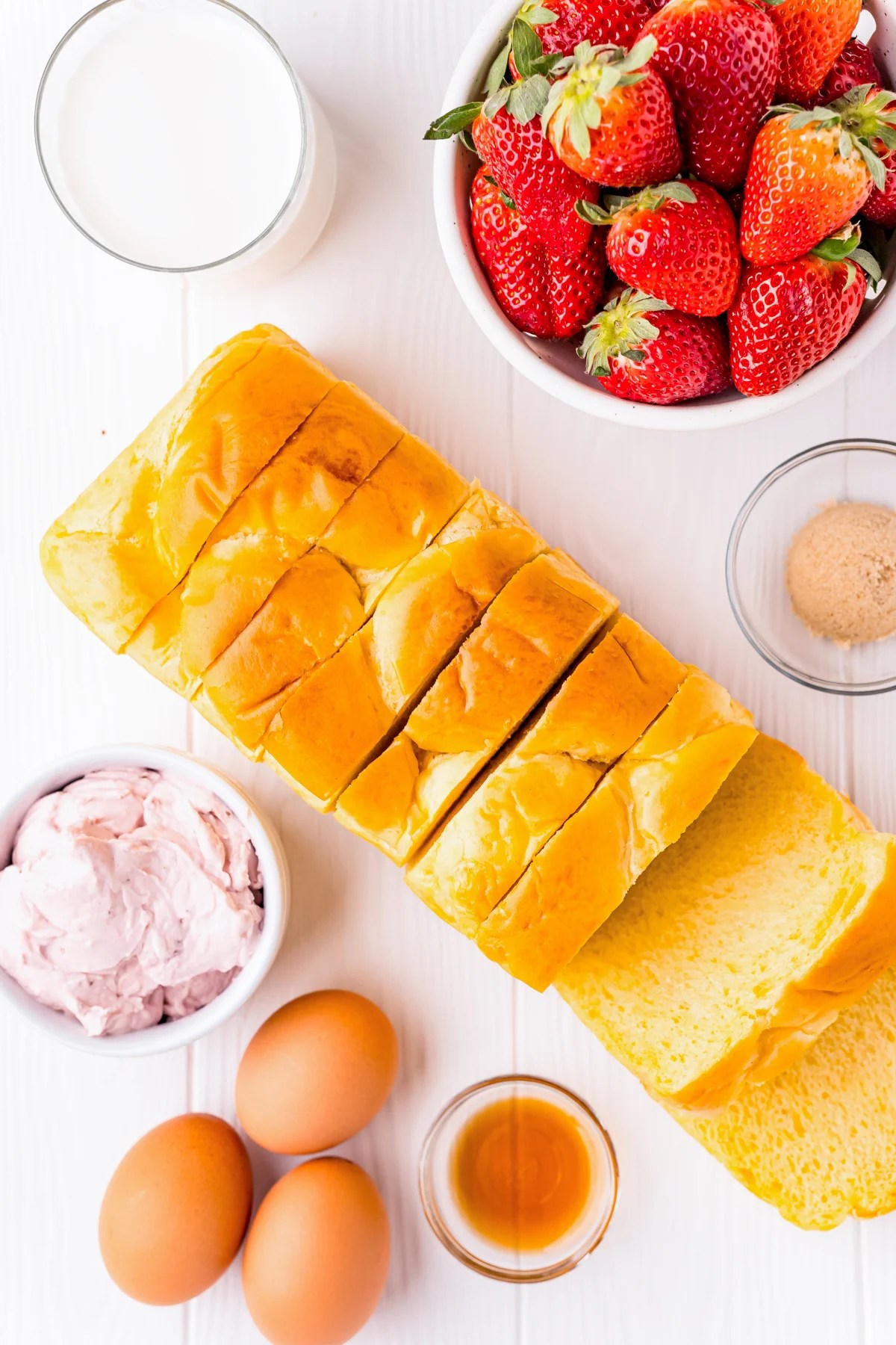 Ingredients needed to make Strawberry Cheesecake Stuffed French Toast
