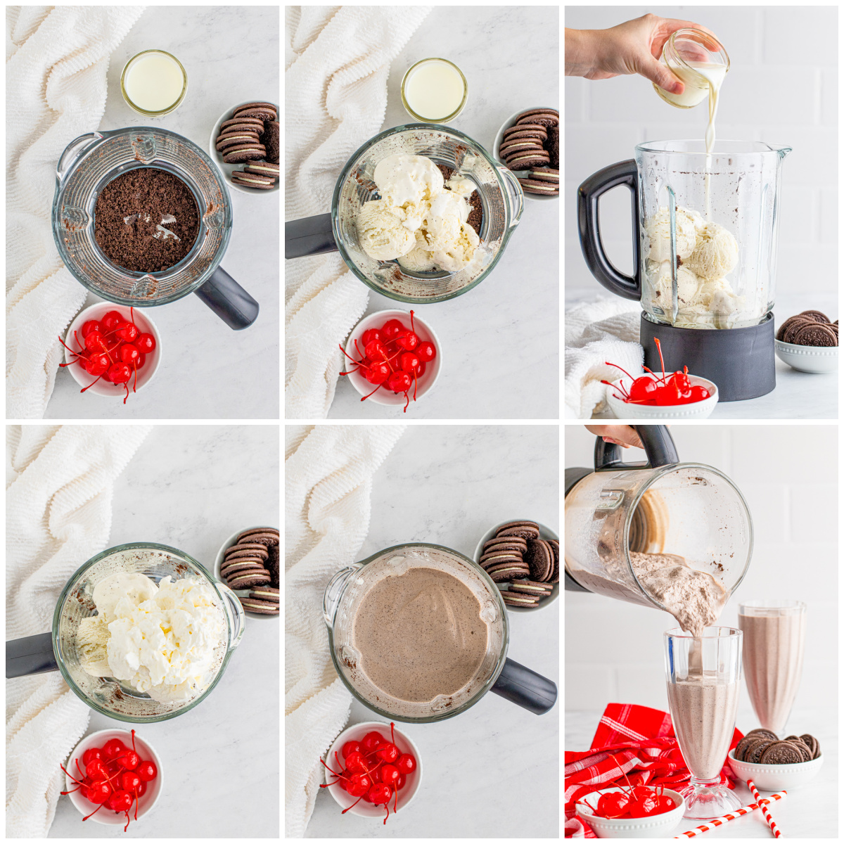 Step by step photos on how to make a Cookies and Cream Milkshake