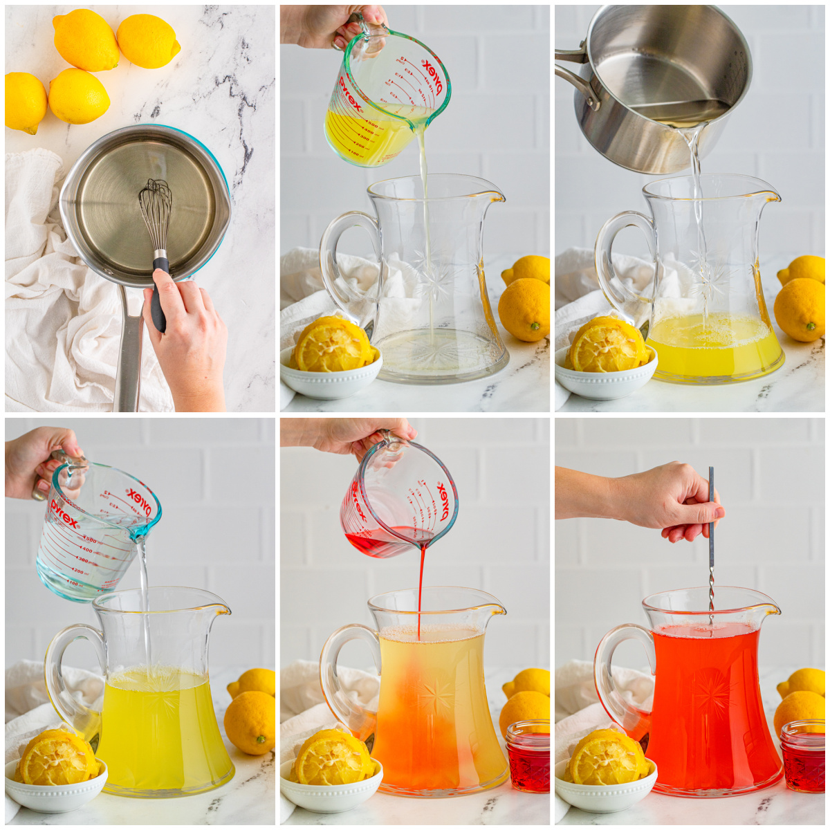 Step by step photos on how to make a Pink Lemonade Recipe