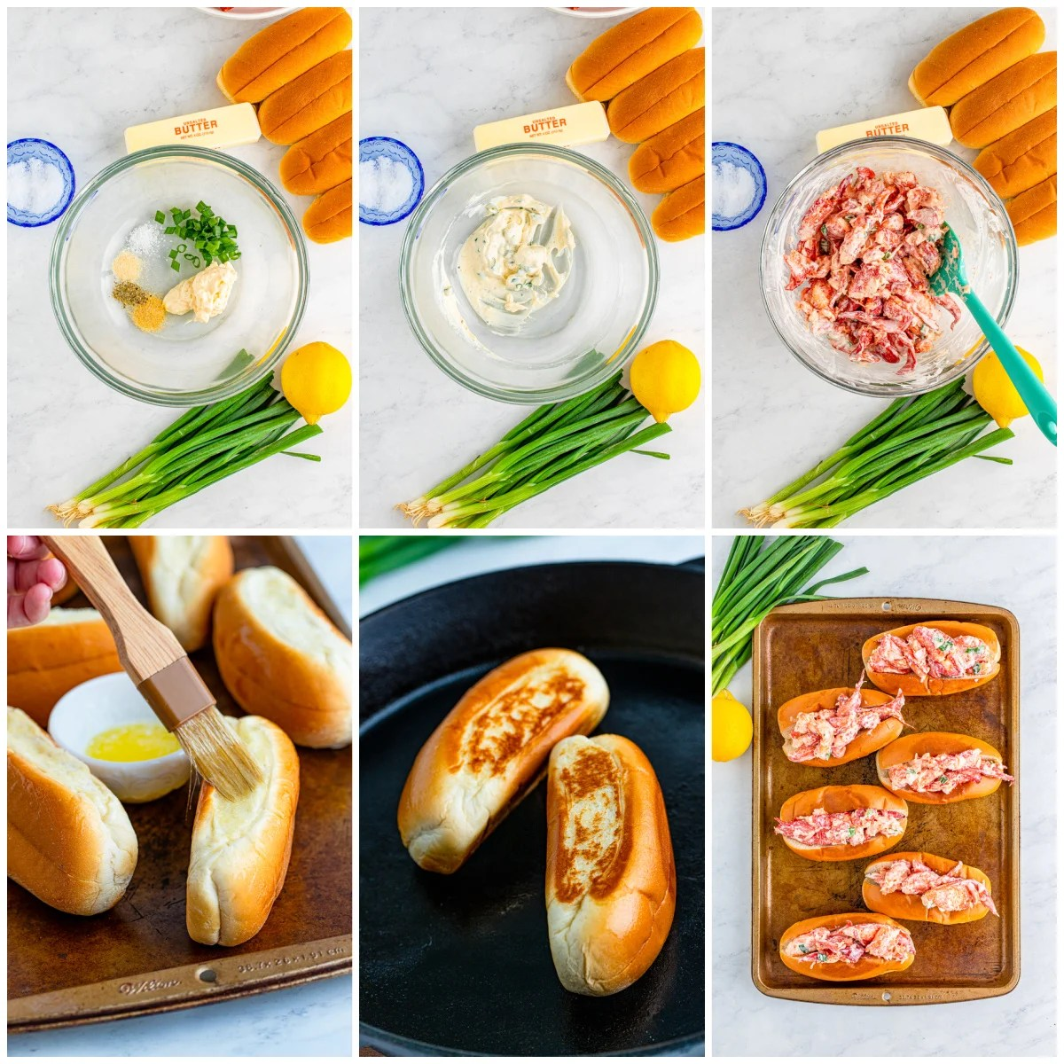 Step by step photos on how to make a Lobster Roll Recipe