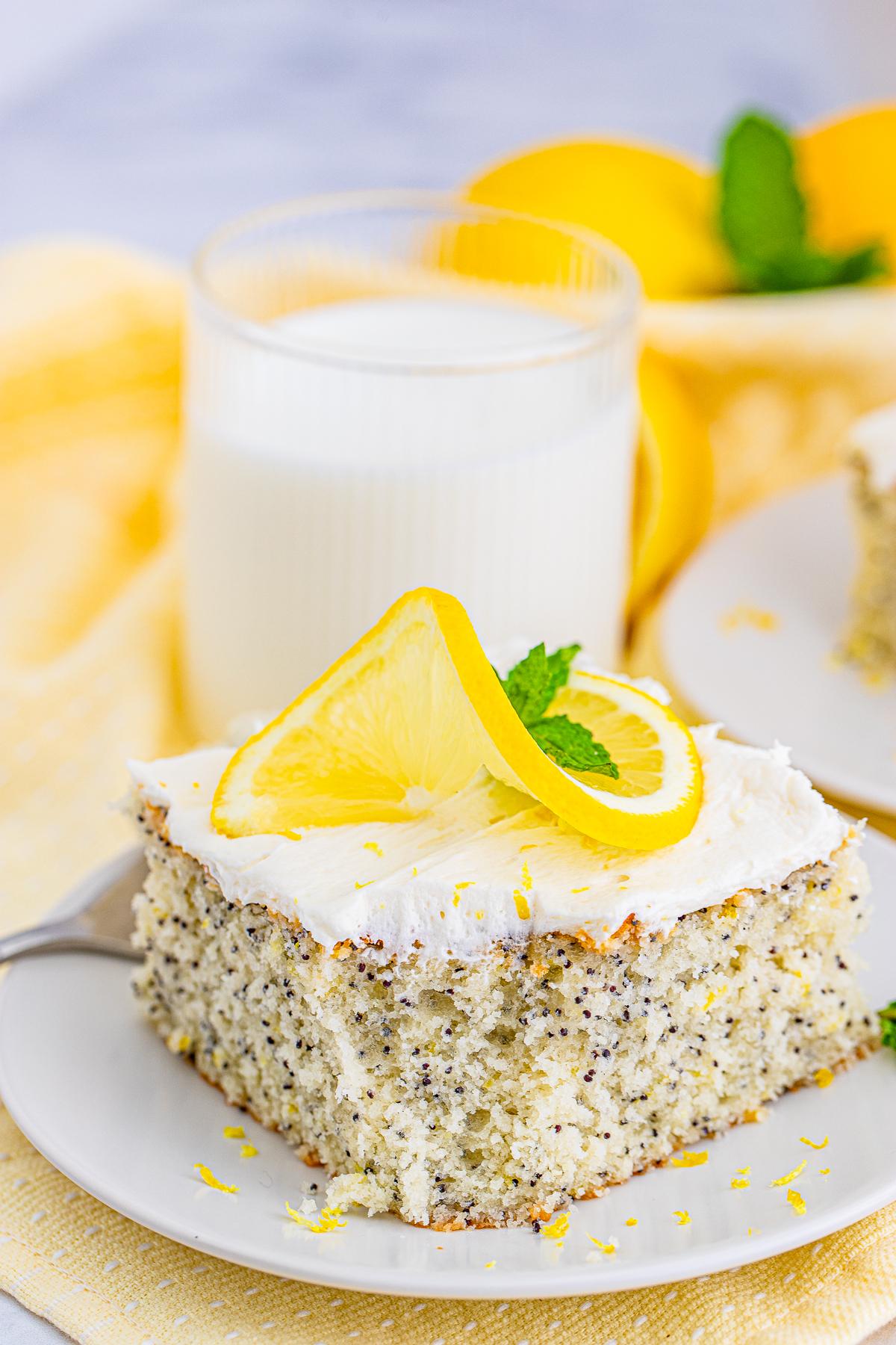 Slice of Lemon Poppy Seed Cake showing bite taken out