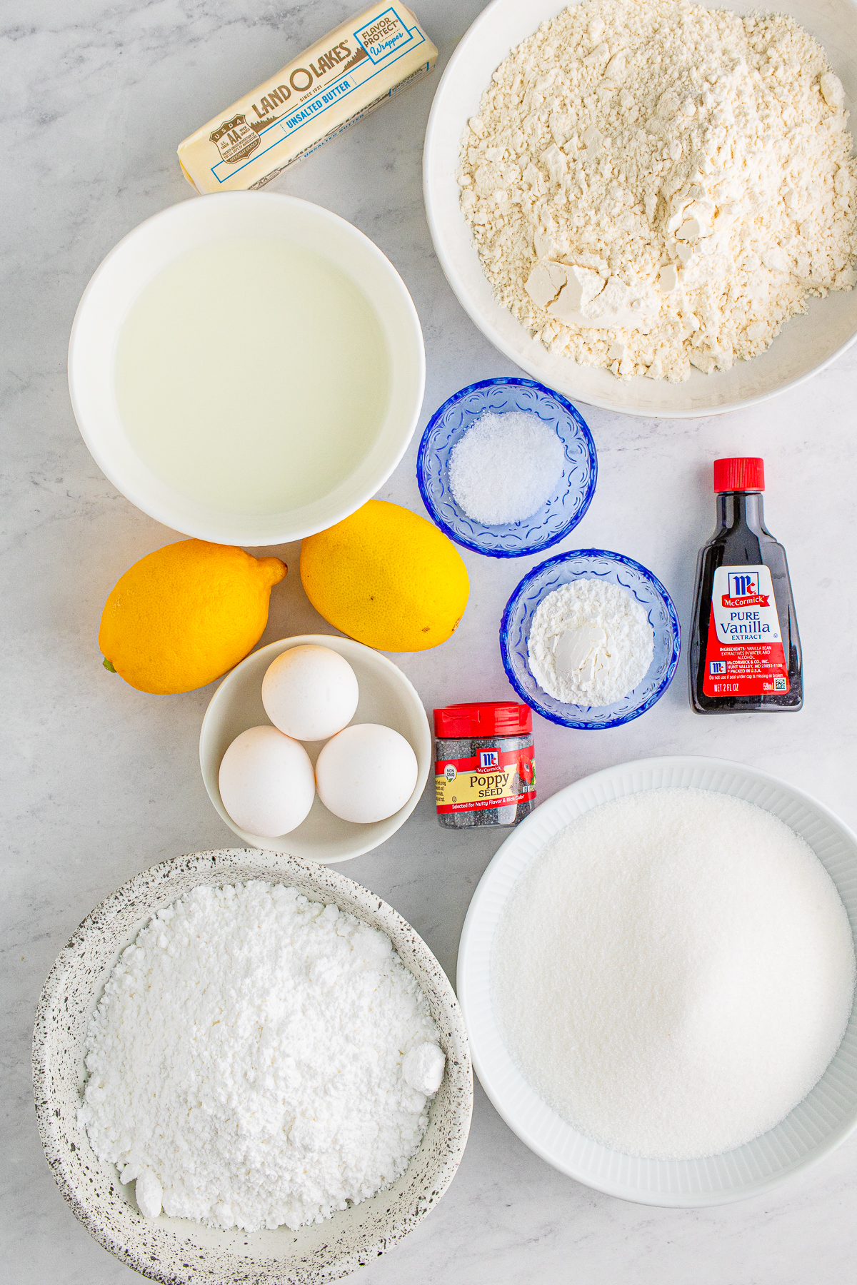 Ingredients needed to make a Lemon Poppy Seed Cake