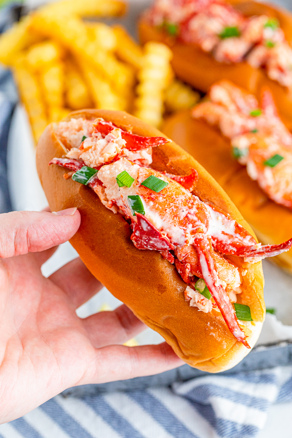 Hand holding up one Lobster Roll