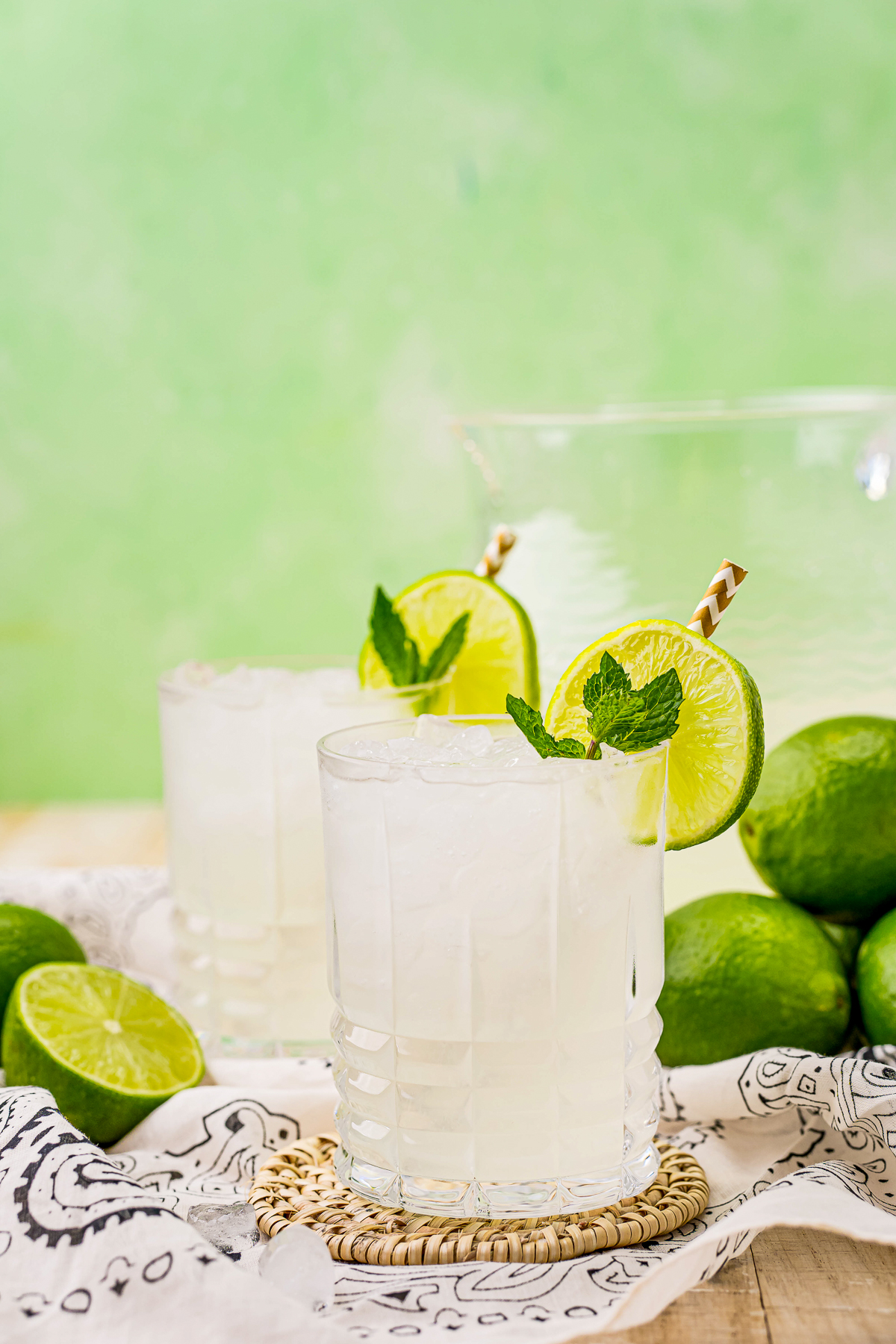Two glasses of Limeade garnished with mint and lime