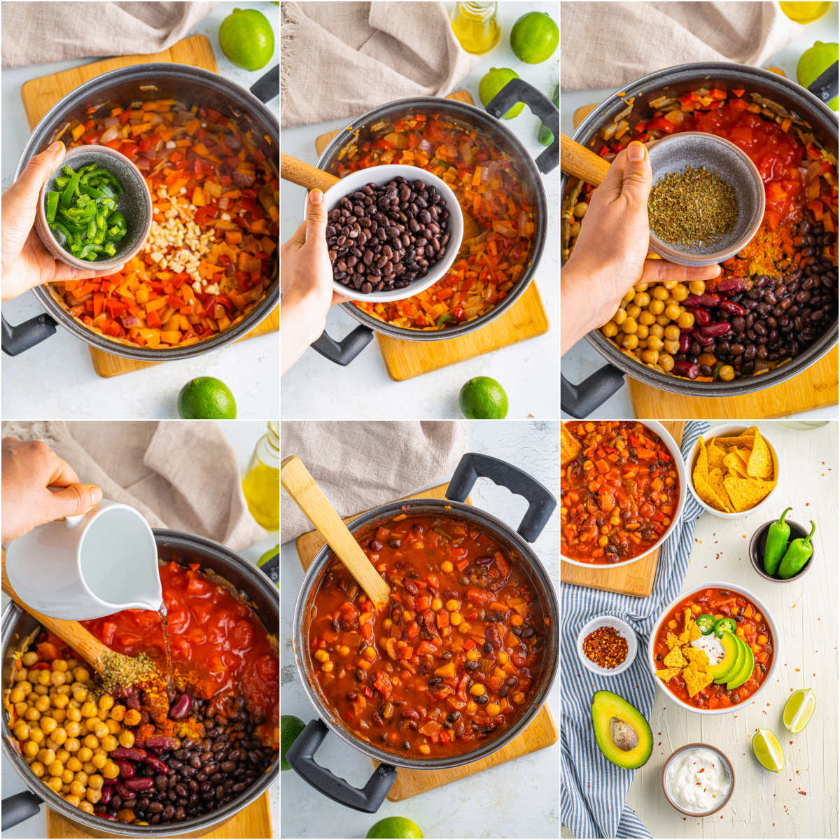 Step by step photos on how to make a Vegetarian Chili Recipe.