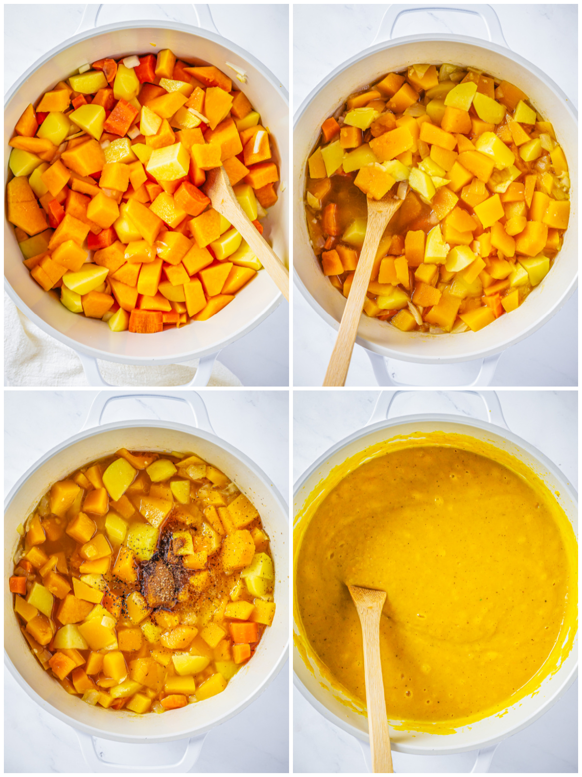 Step by step photos on how to make The Best Butternut Squash Soup Recipe.