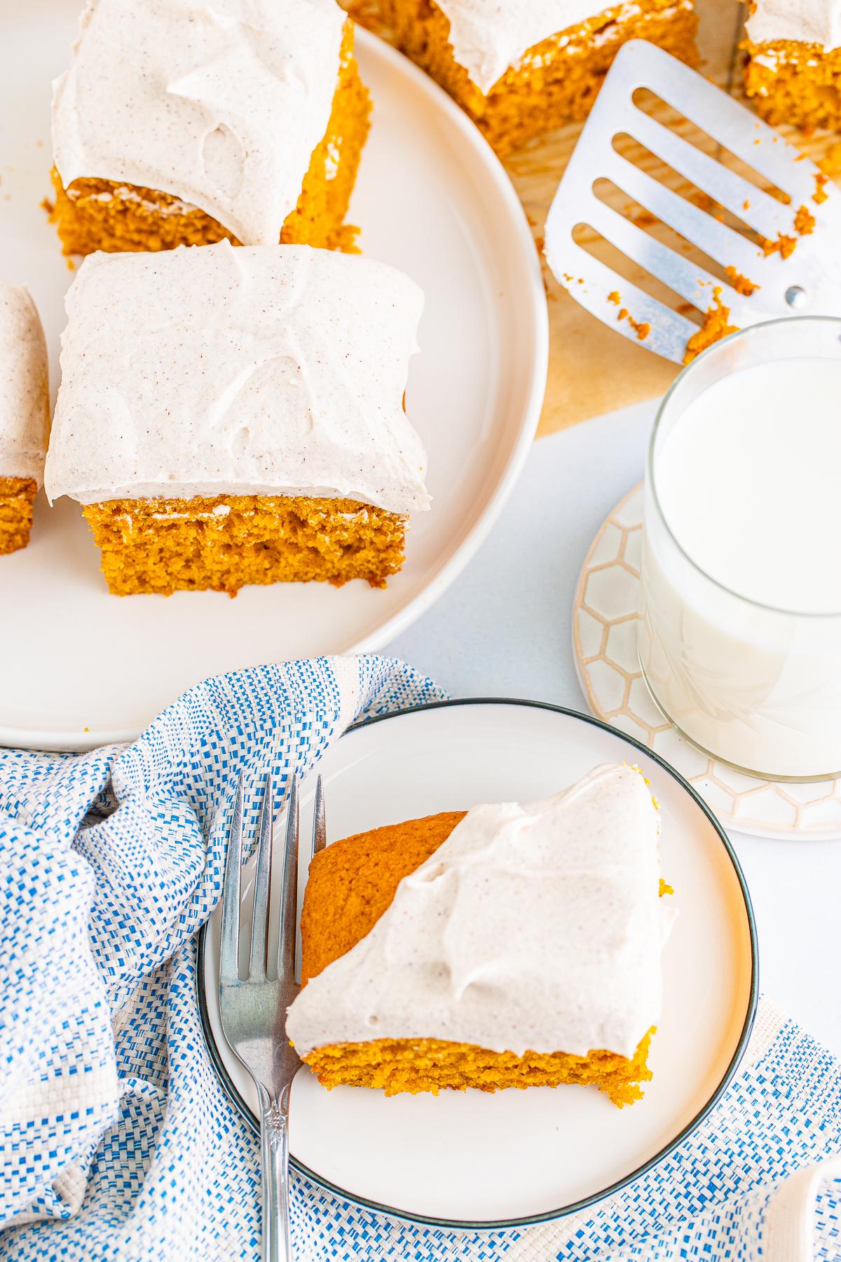Overhead photo of plated Pumpkin Bar Recipe with milk.