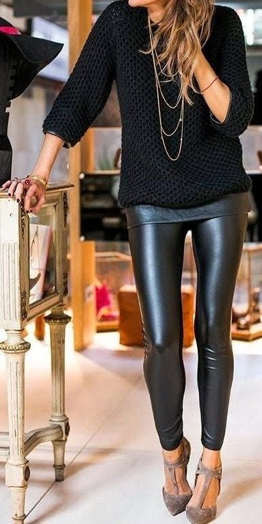 Fall and Winter Fashion Black Leather Jeggings Leggings Fashion Forward Black Sweater Pointy Toe Heels Layered Attire Casual Outfit