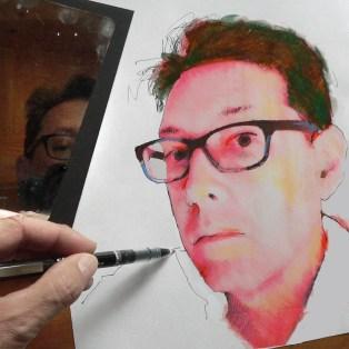 Self portrait of Roger Vincent Jasaitis in pen and chaulk. RVJart.com. Copyright 2013 Roger Vincent Jasaitis