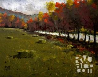West River Treeline, oil painting by Roger Vincent Jasaitis, copyright 2007, RVJart.com