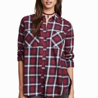Burgundy checked shirt 2