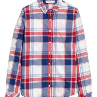 Red blue and white check shirt