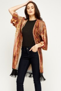 Everything 5 Pounds rust velvet kimono