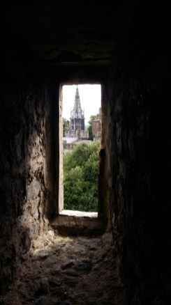 Cardiff Castle view through a narrow window