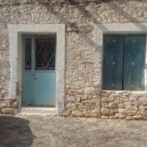 Areopoli blue door and window