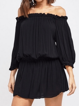 Everything 5 Pounds black off shoulder mini dress