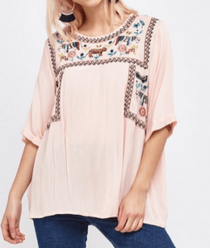 Everything 5 Pounds pink embroidered top