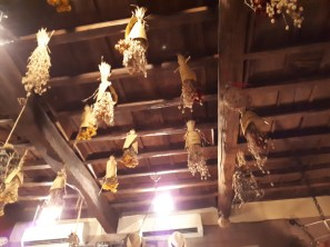 Rustic wooden ceiling at Cantina e Cucina Rome