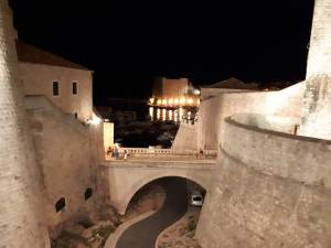 Dubrovnik city walls by night
