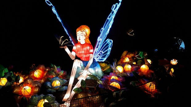 Birmingham Magic Lantern Festival fairy with moving wings holding butterfly