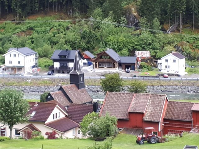 View of Gudvangen from Flam Railway