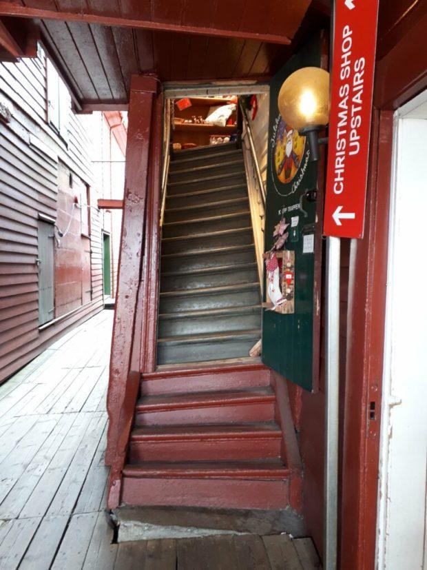 Uneven wooden staircase Bryggen