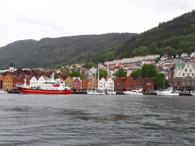 View of Bryggen from across Bergen harbour