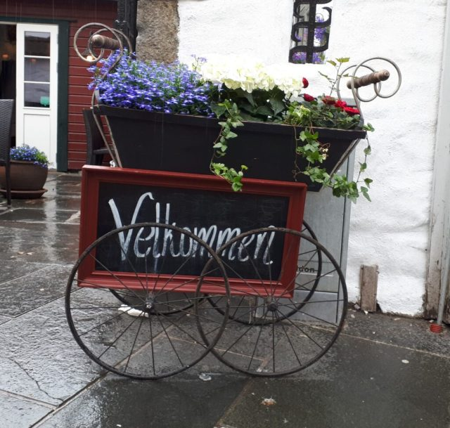 Velkommen flower cart in Bergen
