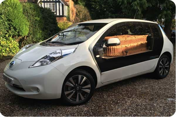 Let's Talk about Death - white electric hearse at a Natural Undertaking