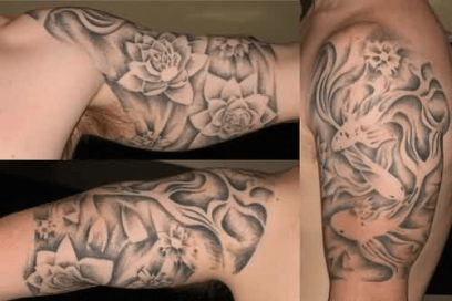 Negative space flowers tattoo