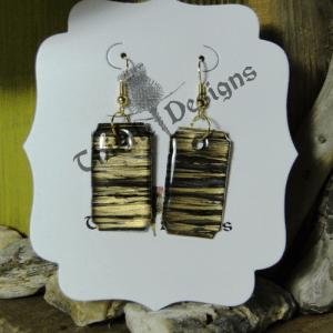 Wearable Art- Dangle Earrings in Black & Gold