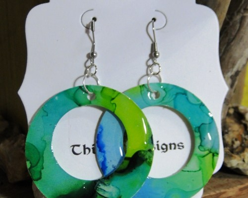 Wearable Art- Dangle Hoop Earrings