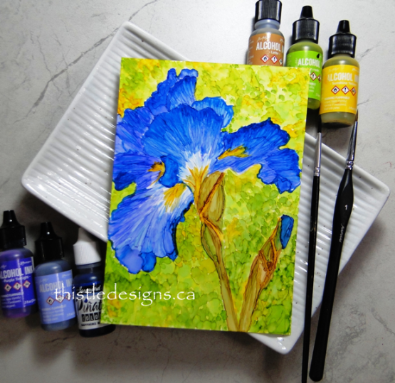 Iris Flower in Alcohol Ink