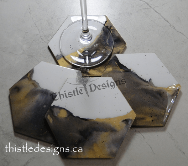 Coasters - Black & Gold alcohol ink