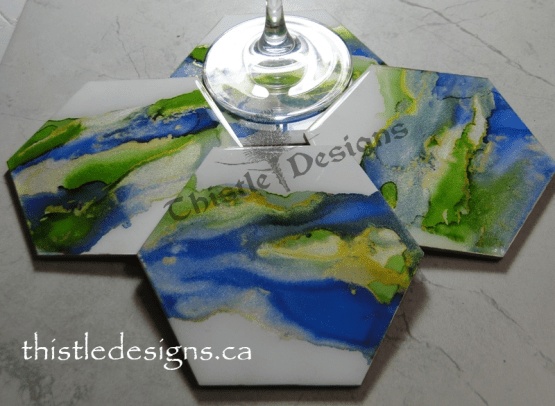 Coasters - Blue, Green & Gold alcohol ink