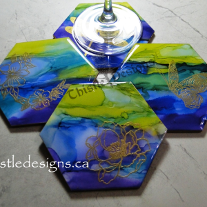 COASTERS - Alcohol Ink with Embossed Images
