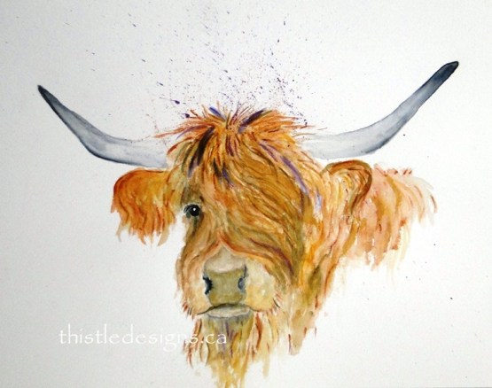 Highland Cow in Watercolour