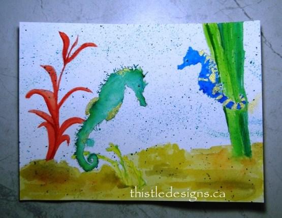 Watercolour Seahorses