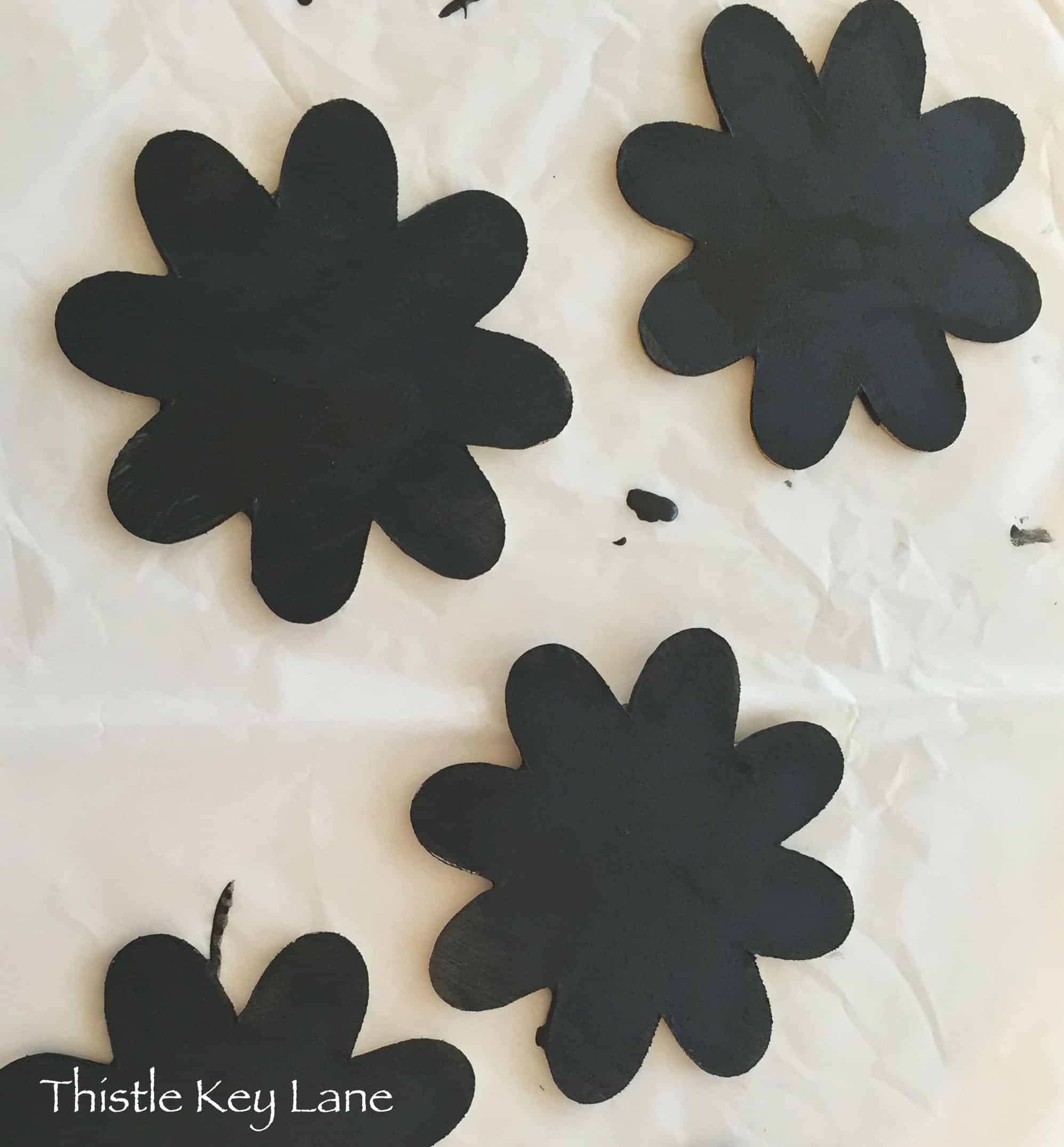 Wood flowers painted with Annie Sloan Chalk Paint